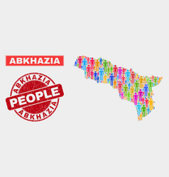 Abkhazia map population demographics and corroded vector