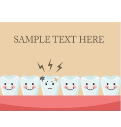 Aching tooth among healthy teeth vector