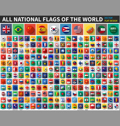 All national flags world flat color vector