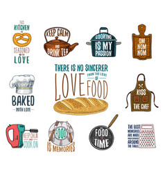 Apron and saucepan bagel and wooden board vector