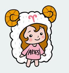 Aries girl horoscope cartoon vector