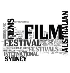 australian film festivals text word cloud concept vector image