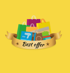 Best offer banner with isolated stack of purchases vector