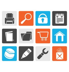 Black website internet and computer icons vector