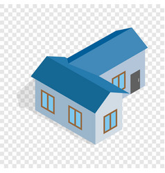 Blue house isometric icon vector