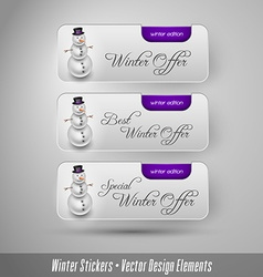 Business winter stickers with snowman design vector image