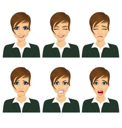 Business woman with different facial expressions vector