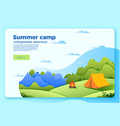 Camping banner template with bonfire tent vector