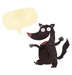 cartoon happy wolf with speech bubble vector image