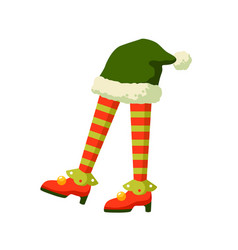 christmas elf feet in striped socks flat vector image
