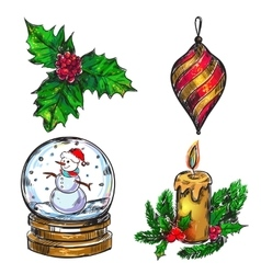 Christmas Sketch Icon Set vector