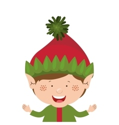 color image with half body christmas gnome boy vector image
