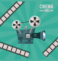 Colorful poster of cinema time with movie vector