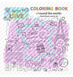 Coloring book tour to france vector
