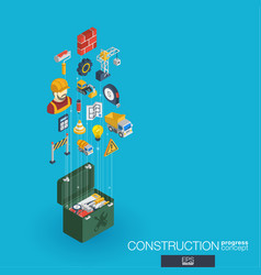 construction integrated 3d web icons growth and vector image