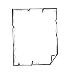 Contour torn parchment with folded sheet edge vector