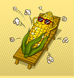 corn tans on beach pop art vector image