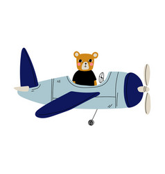 cute bear pilot flying on retro plane in sky vector image