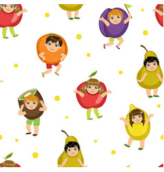 cute kids in fruits costumes seamless pattern vector image