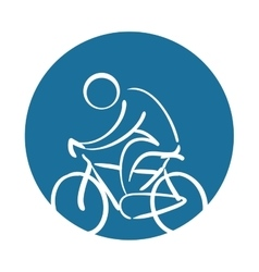 Cyclist silhouette sport health icon vector