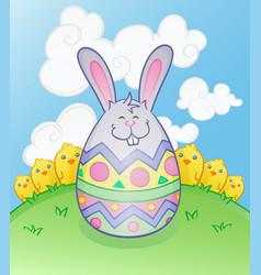 Easter bunny egg cartoon character vector