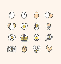 egg sign color thin line icon set vector image