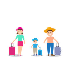 Family on vacation with suitcases vector