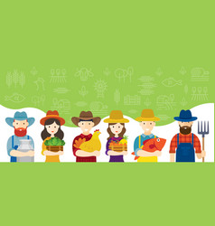 farmers characters with icons background vector image