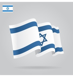 Flat and waving Israeli Flag vector