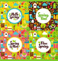 Flat spring garden postcards vector
