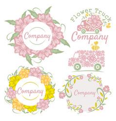 flower truck logo vector image