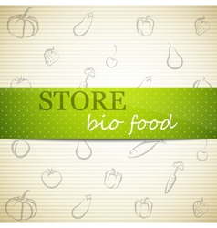food icon and green label store advertising sign vector image