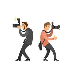 Freelancer photographer paparazzi digital cameras vector