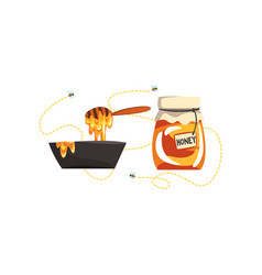 Glass jar with honey and dipper apiary honey vector