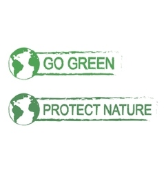Go green protect nature grunge graffiti print vector image