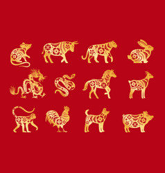 gold on red chinese horoscope vector image