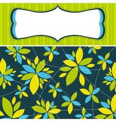 Green background with decorative flowers vector