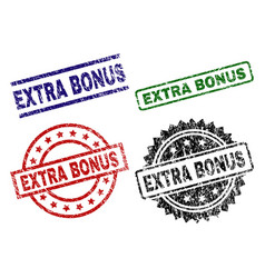 Grunge textured extra bonus stamp seals vector