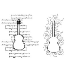 guitar with music notes - design elements vector image