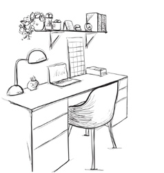 Hand drawn sketch of modern workspace with work vector