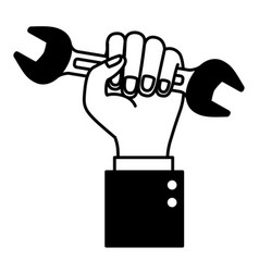 hand holding wrench flat icon black silhouette vector image