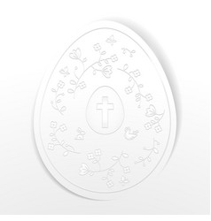 happy easter background with white paper egg with vector image