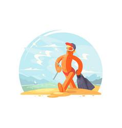 happy man going to swim vector image