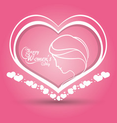 happy womens day heart girl pink background vector image