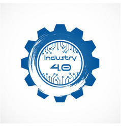 industry 40 in involute gear with dot line system vector image
