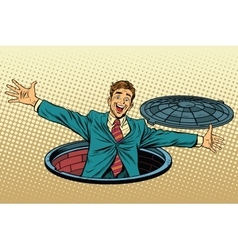 joyful man in the manhole vector image