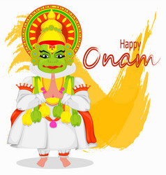 kathakali dancer happy onam festival vector image