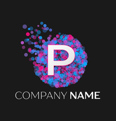 letter p logo with blue purple pink particles vector image vector image