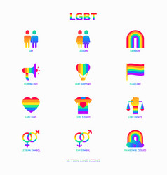 lgbt thin line icons set vector image