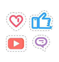 like and thumb up social network items vector image